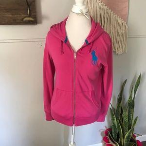 Ralph Lauren got pink zip up hooded sweatshirt M